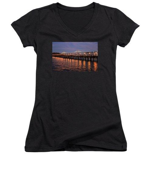 Pier 7 And Bay Bridge Lights At Sunset Women's V-Neck T-Shirt