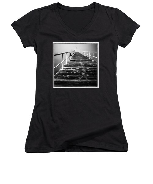 Pier At Pooley Bridge On Ullswater In The Lake District Women's V-Neck