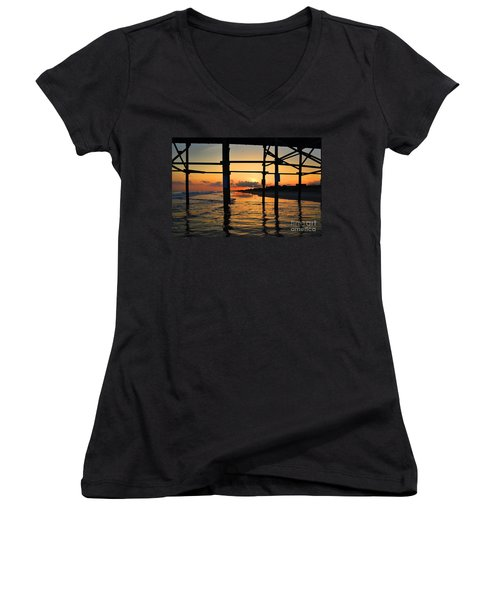 Oak Island Pier Sunset Women's V-Neck (Athletic Fit)
