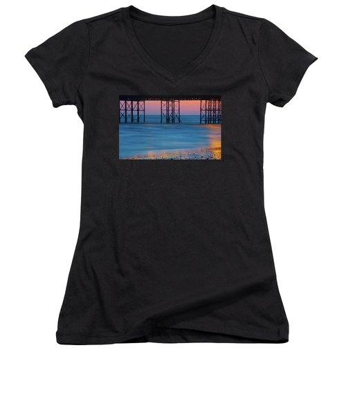 Pier Supports At Sunset I Women's V-Neck (Athletic Fit)