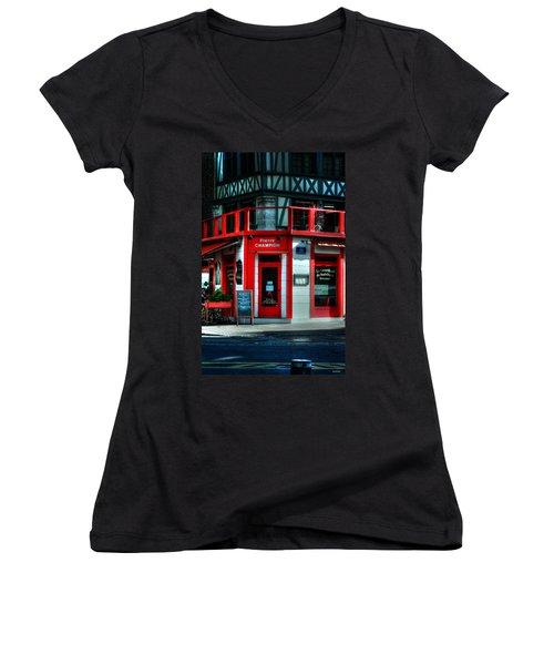 Women's V-Neck T-Shirt (Junior Cut) featuring the photograph Pierre Champion Rouen France by Tom Prendergast