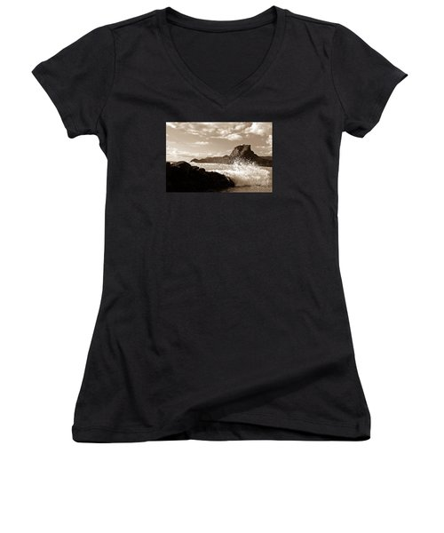 Women's V-Neck T-Shirt (Junior Cut) featuring the painting Piha New Zealand Waves by Yurix Sardinelly