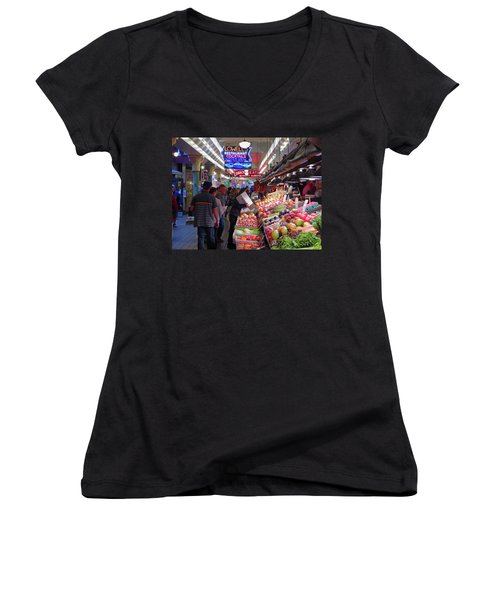 Women's V-Neck T-Shirt featuring the photograph Pike Market Fruit Stand by Walter Fahmy