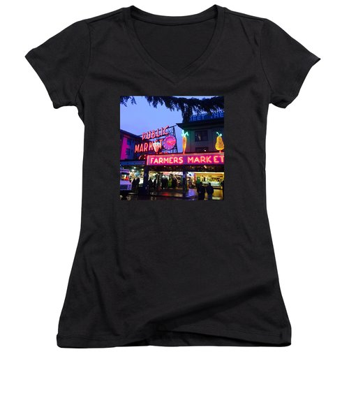 Pike Place Market Women's V-Neck T-Shirt (Junior Cut) by Anthony Grayson