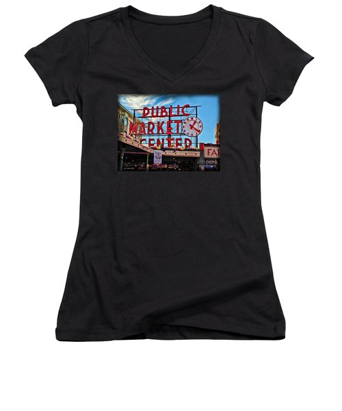 Pike Place Market Women's V-Neck T-Shirt (Junior Cut) by Joan  Minchak