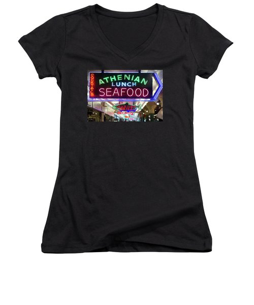 Pike Street Market Neon, Seattle Women's V-Neck T-Shirt (Junior Cut) by Greg Sigrist