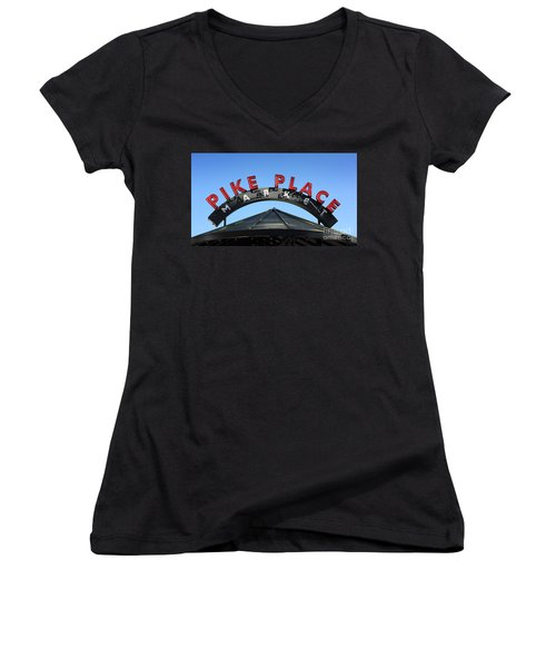 Pike Street Market Sign Women's V-Neck