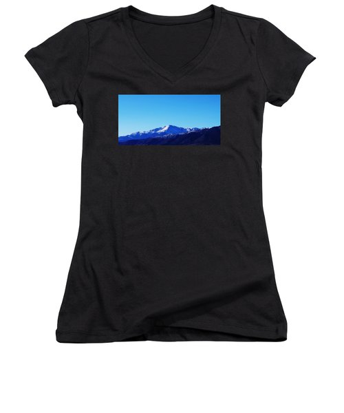 Pikes Peak Women's V-Neck T-Shirt (Junior Cut) by Joseph Frank Baraba
