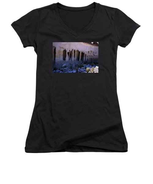 Pillars And Caves, Crowley Lake Women's V-Neck T-Shirt (Junior Cut) by Michael Courtney