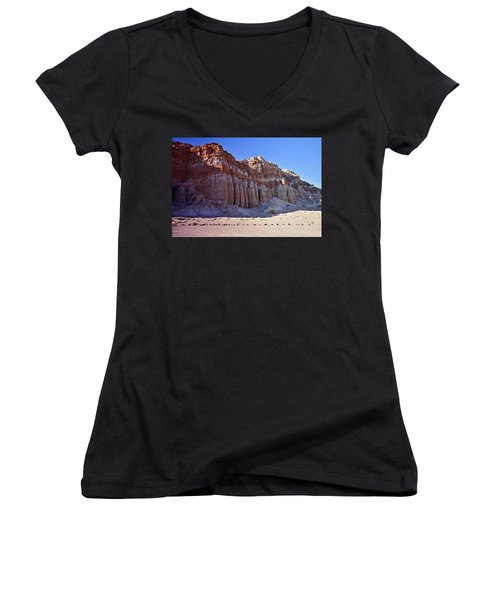 Pillars, Red Rock Canyon State Park Women's V-Neck (Athletic Fit)