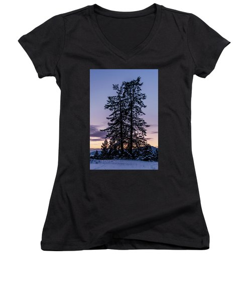 Pine Tree Silhouette    Women's V-Neck