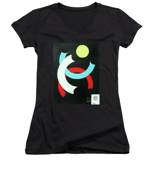 Pineapple Moon Women's V-Neck T-Shirt (Junior Cut) by Roberto Prusso