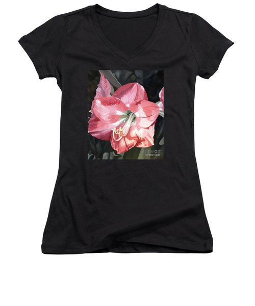 Pink Amaryllis Women's V-Neck
