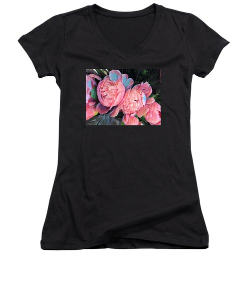 Pink And A Little Blue - Colors From My Garden Women's V-Neck (Athletic Fit)
