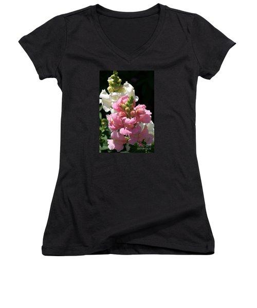 Women's V-Neck T-Shirt (Junior Cut) featuring the photograph Sweet Peas by Eunice Miller