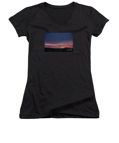 Women's V-Neck T-Shirt (Junior Cut) featuring the photograph Pink Clouds by Alana Ranney