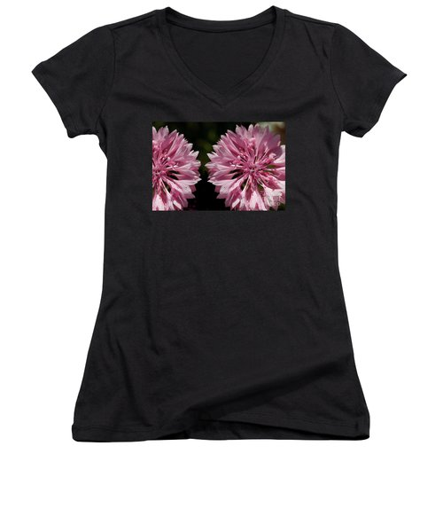 Pink Cornflowers Women's V-Neck (Athletic Fit)