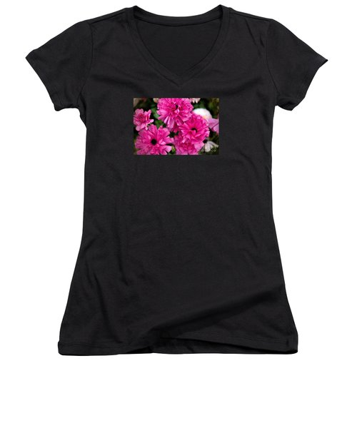 Women's V-Neck T-Shirt (Junior Cut) featuring the photograph Pink by Diana Mary Sharpton