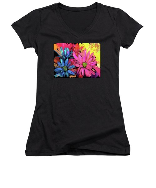 Women's V-Neck T-Shirt (Junior Cut) featuring the painting Pink Flower by DC Langer