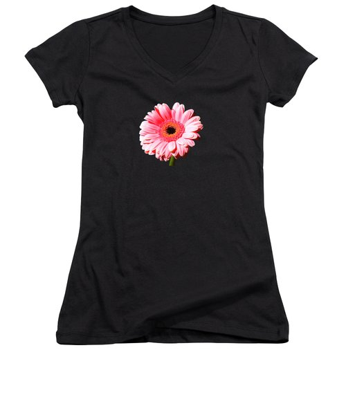Pink Gerbera Women's V-Neck T-Shirt