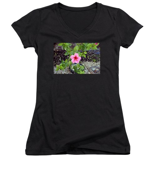 Pink Hibiscus And Wheel Women's V-Neck (Athletic Fit)