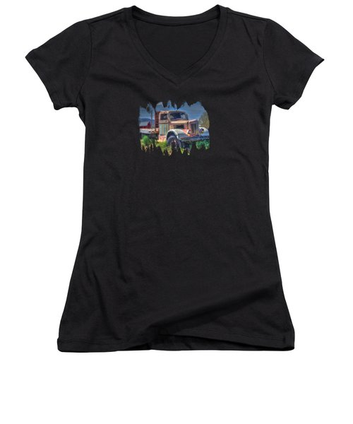 Classic Flatbed Truck In Pink Women's V-Neck
