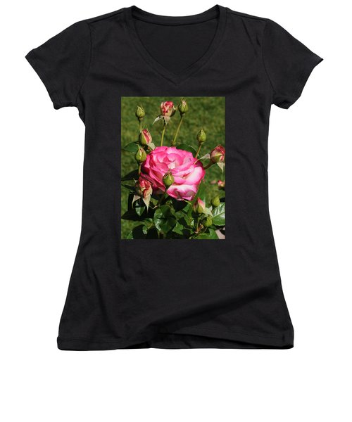 Pink Lady Rose And Her Kids Women's V-Neck T-Shirt (Junior Cut) by Haleh Mahbod