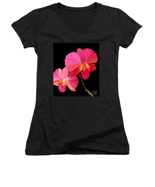 Women's V-Neck T-Shirt (Junior Cut) featuring the painting Pink Lux by Rand Herron