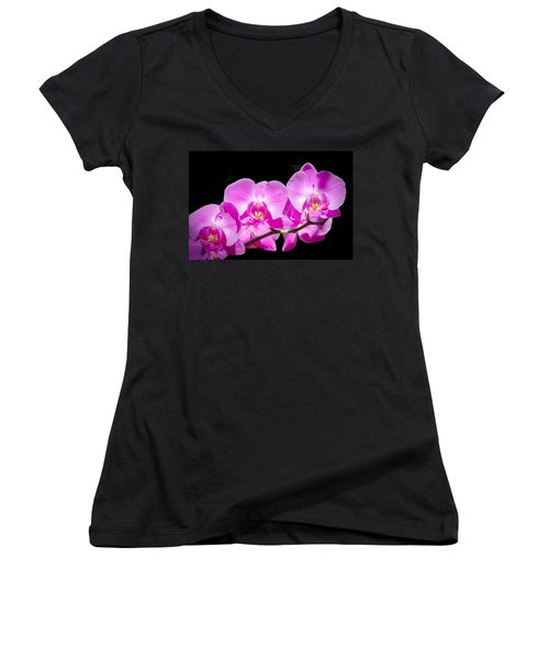Pink Orchid Flora Women's V-Neck (Athletic Fit)