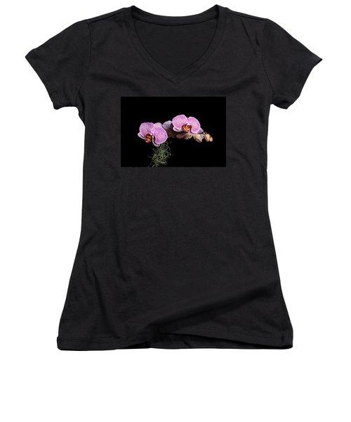 Pink Orchids Women's V-Neck