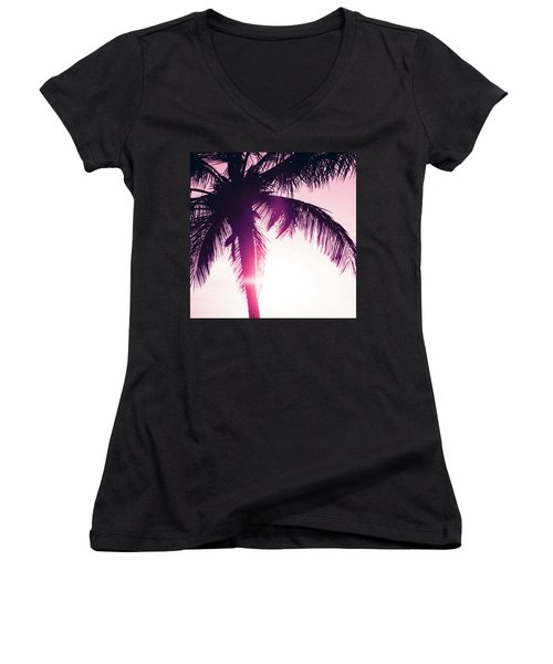 Women's V-Neck T-Shirt (Junior Cut) featuring the photograph Pink Palm Tree Silhouettes Kihei Tropical Nights by Sharon Mau