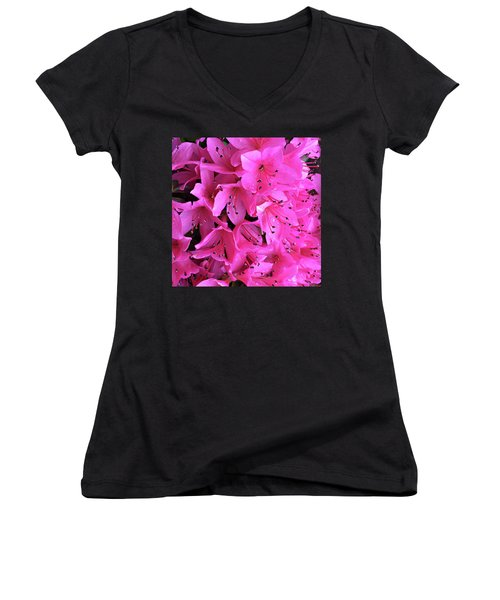 Women's V-Neck T-Shirt (Junior Cut) featuring the photograph Pink Passion In The Rain by Sherry Hallemeier