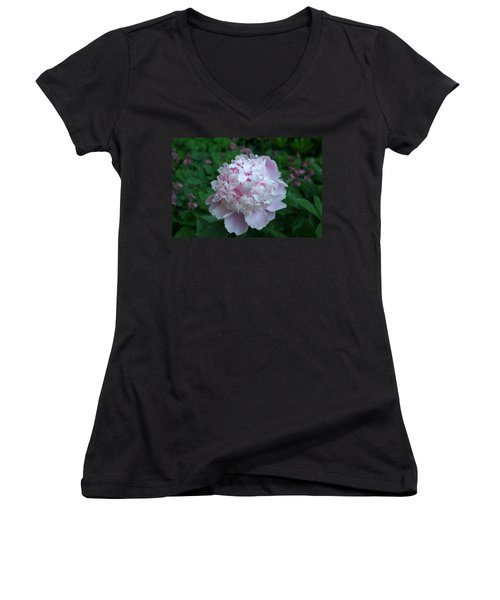 Women's V-Neck T-Shirt (Junior Cut) featuring the digital art Pink Peony by Barbara S Nickerson