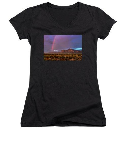 Women's V-Neck T-Shirt featuring the photograph Pink Rainbow  by Saija Lehtonen