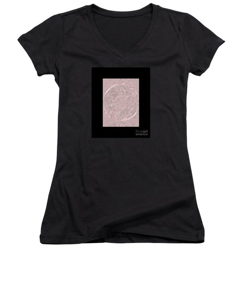 Women's V-Neck T-Shirt (Junior Cut) featuring the digital art Pink Ring. Special by Oksana Semenchenko