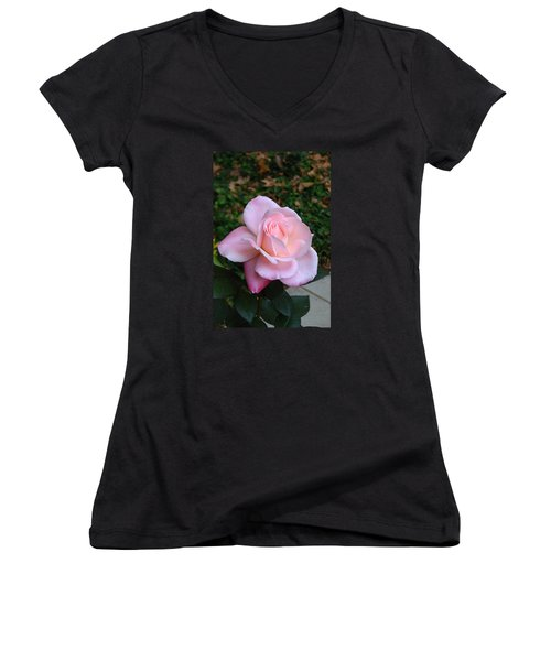 Women's V-Neck T-Shirt (Junior Cut) featuring the photograph Pink Rose by Carla Parris