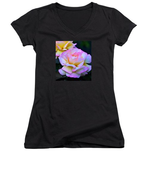 Pink Rose Women's V-Neck T-Shirt (Junior Cut) by Josephine Buschman