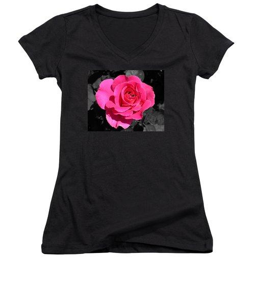 Perfect Pink Rose Women's V-Neck T-Shirt (Junior Cut) by Michael Bessler