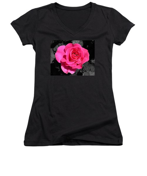 Perfect Pink Rose Women's V-Neck (Athletic Fit)