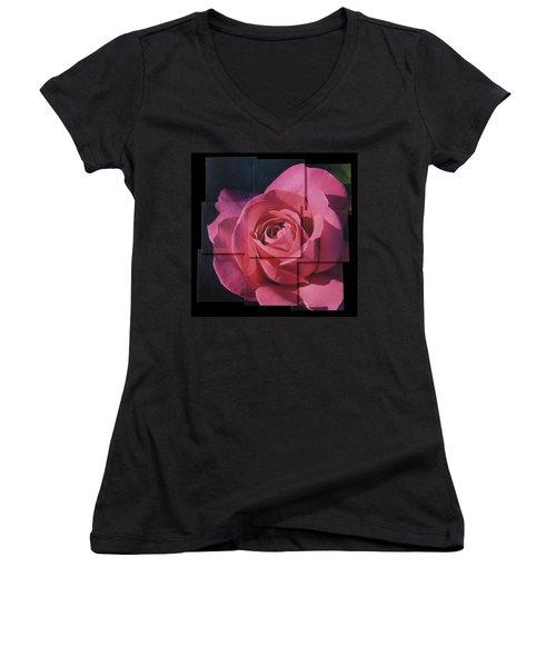 Pink Rose Photo Sculpture Women's V-Neck T-Shirt (Junior Cut) by Michael Bessler