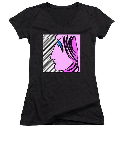 Pink Scarf Women's V-Neck T-Shirt