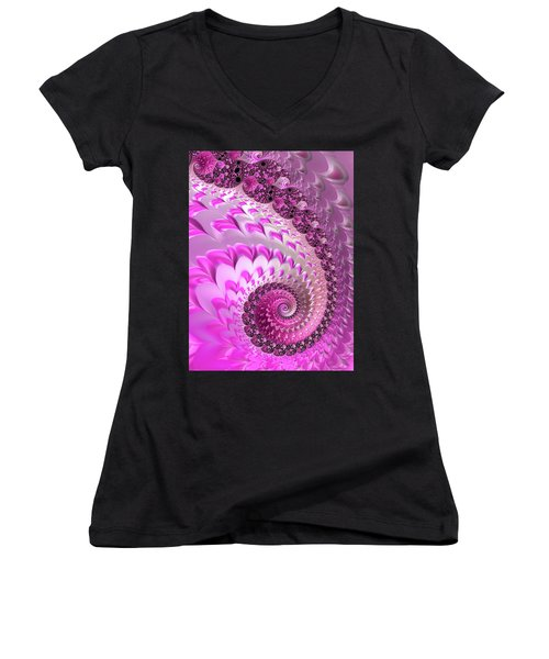 Pink Spiral With Lovely Hearts Women's V-Neck