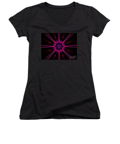 Pink Starburst Fractal  Women's V-Neck