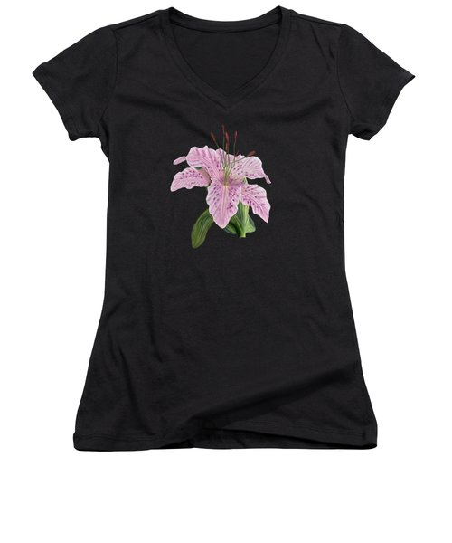 Women's V-Neck T-Shirt (Junior Cut) featuring the digital art Pink Tiger Lily Blossom by Walter Colvin
