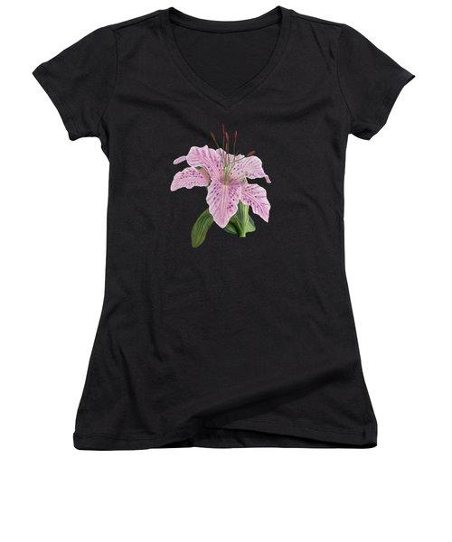 Pink Tiger Lily Blossom Women's V-Neck T-Shirt