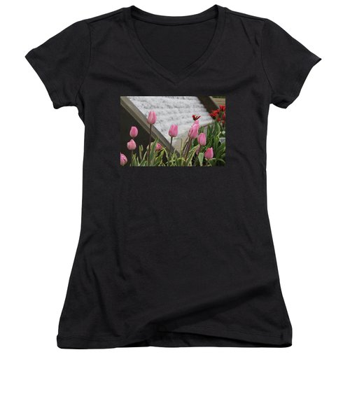 Pink Tulips Women's V-Neck T-Shirt
