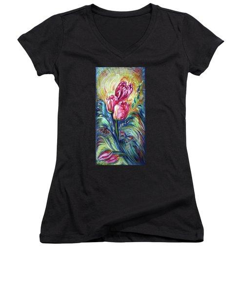 Pink Tulips And Butterflies Women's V-Neck T-Shirt (Junior Cut) by Harsh Malik