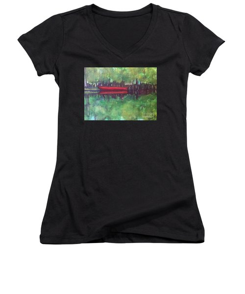 Pirogue On Bayou Lafourche Women's V-Neck (Athletic Fit)