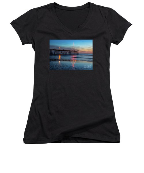 Pismo Pier Lights Women's V-Neck T-Shirt