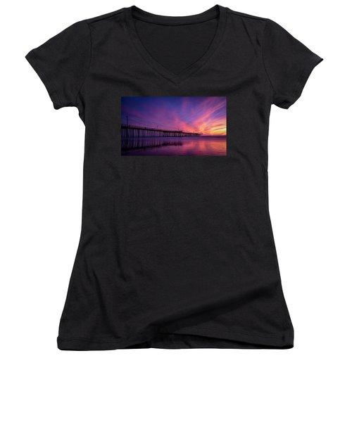 Pismo's Palette Women's V-Neck T-Shirt (Junior Cut) by Sean Foster